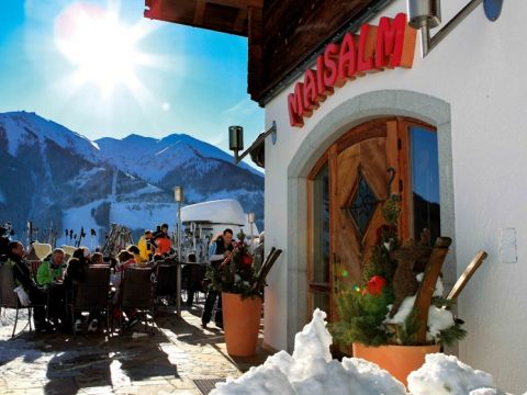 Entrance to the restaurant Maisalm in Saalbach